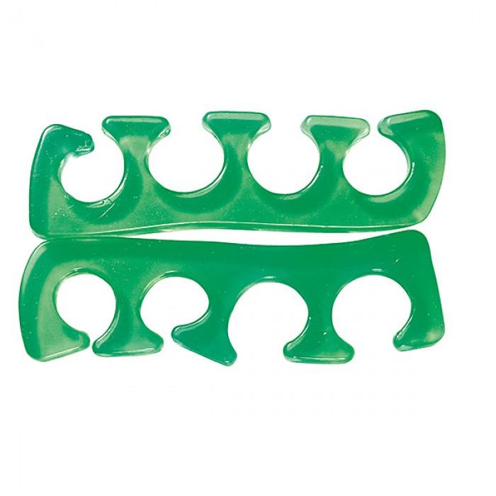 Pair of silicone toe separators green