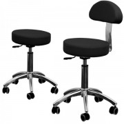 Beauty master stool with backrest, black